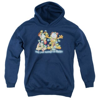 Youth's Navy Cotton/Polyester Garfield/Bright Holidays Pull-over Hoodie
