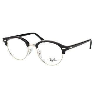 Ray-Ban Clubmaster RX 4246V 2000 Clubround Shiny Black/Silver Plastic 49-millimeter Eyeglasses