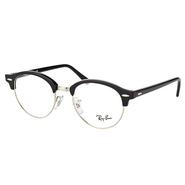 c3c55f1a5d767 Ray-Ban Clubmaster RX 4246V 2000 Clubround Shiny Black Silver Plastic 49- millimeter