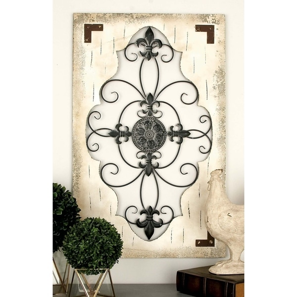 Rustic 42 x 26 Inch Scroll and Fleur-de-lis Wall Decor by Studio 350. Opens flyout.