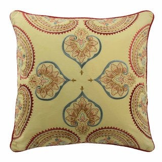 Waverly Swept Away 18-inch Multicolored Cotton Embroidered Decorative Throw Pillow