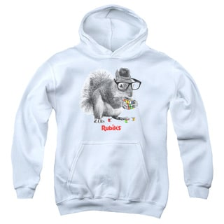 Rubik's Cube/Nerd Squirrel Youth Pull-Over Hoodie in White