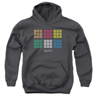Rubik's Cube/Minimal Squares Unisex Youth Charcoal Pull-Over Hoodie