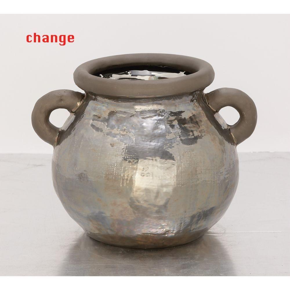 Studio 350 Fascinating Ceramic Metallic Pot (Ceramic), Bl...