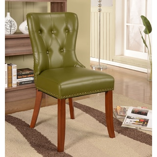 K and B Furniture Co Green Faux Leather and Wood Accent Chair