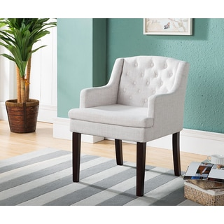 K and B Furniture Co Inc AC6314 Cream Fabric/Wood Accent Chair