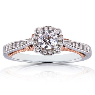 Annello by Kobelli 14k Two-tone Gold 2/5ct TDW Diamond Unique Halo Ring