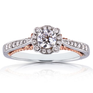 Annello by Kobelli 14k Two-tone Gold 2/5ct TDW Diamond Unique Halo Ring (H-I, I1-I2)