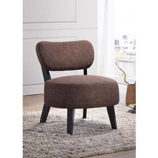 K&B AC4606 Brown Wood/Fabric Accent Chair