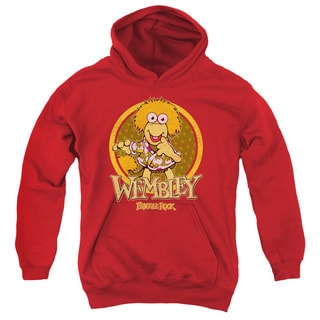 Youth's Red Cotton/Polyester Fraggle Rock/Wembley Circle Pull-over Hoodie