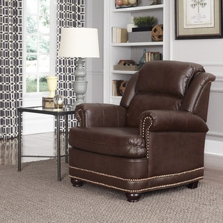 Beau Brown Bonded Leather Stationary Chair