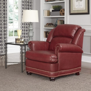 Winston Wine Red Bonded Leather Stationary Chair
