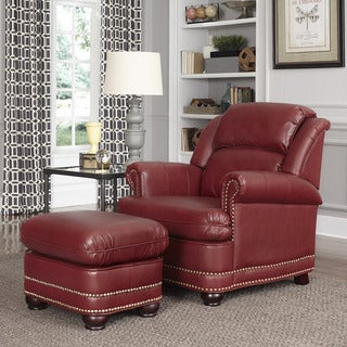 Winston Wine Red Stationary Chair and Ottoman