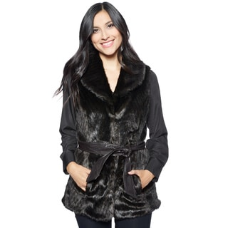 Ellen Tracy Women's Espresso Faux Fur Vest