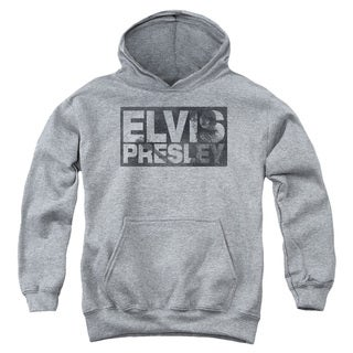 Elvis/Block Letters Youth Pull-Over Hoodie in Heather