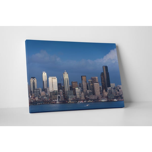 City Skylines 'Seattle Day ' Gallery Wrapped Canvas Wall Art