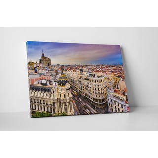 City Skylines 'Madrid' Gallery Wrapped Canvas Wall Art