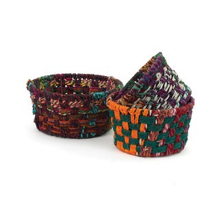 Multi-color Woven Fabric Round Baskets (Set of 3)