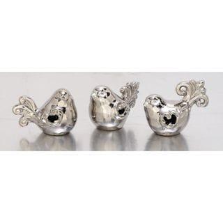 Adorable Set Of Three Ceramic Silver Birds