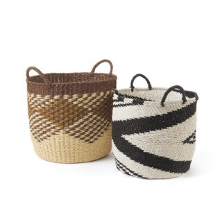 Straw Diamond Basket Set