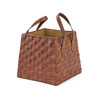 Woven Leather Magazine Basket