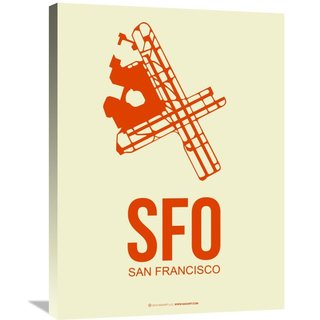 Naxart Studio 'SFO San Francisco Poster 1' Stretched Canvas Wall Art