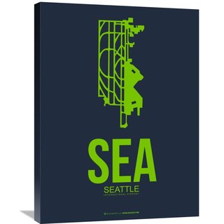 Naxart Studio 'SEA Seattle Poster 2' Stretched Canvas Wall Art