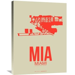 Naxart Studio 'MIA Miami Poster 3' Stretched Canvas Wall Art