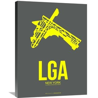 Naxart Studio 'LGA New York Poster 1' Stretched Canvas Wall Art