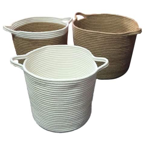 Assorted Cotton 3 Piece Set of Jute Baskets