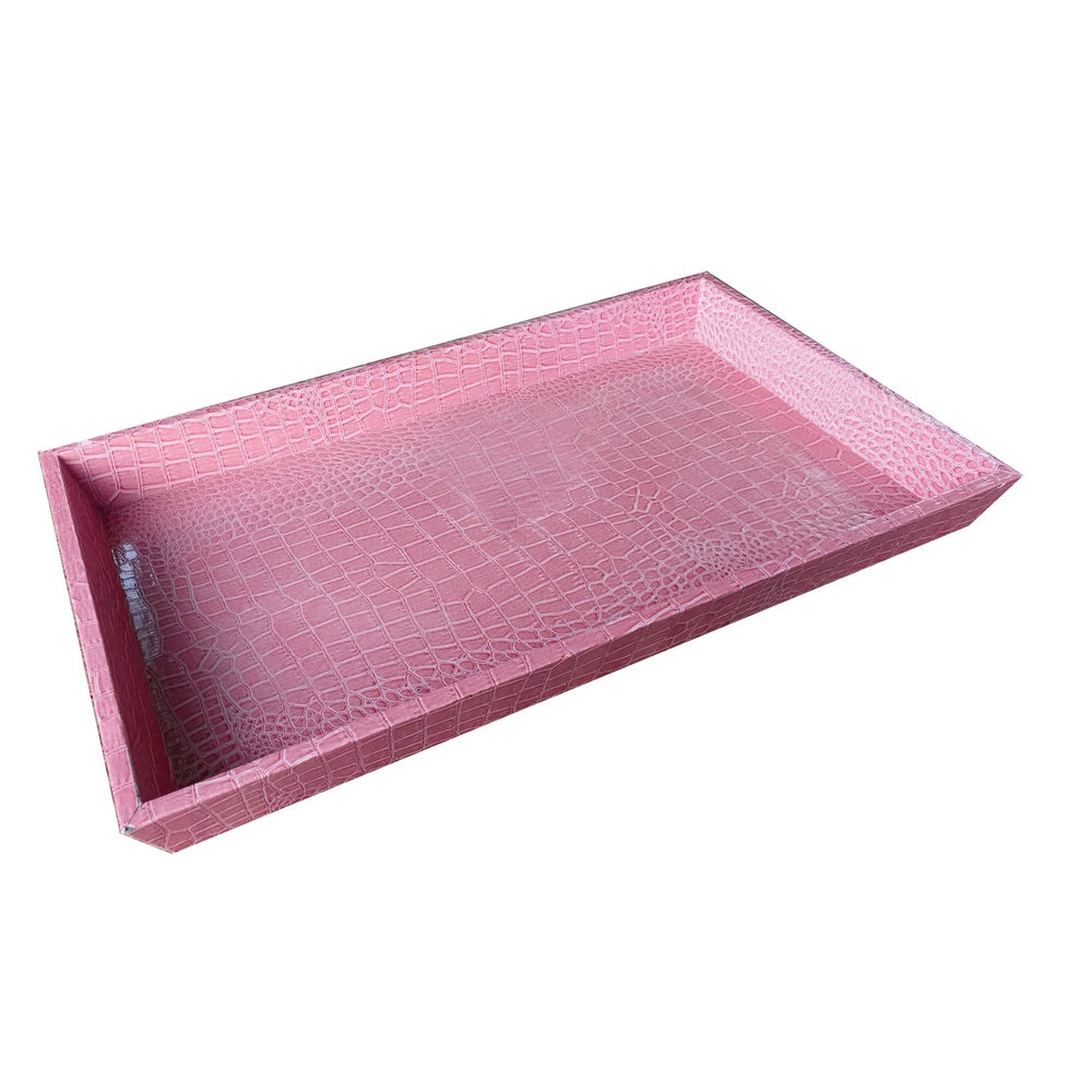 Urban Vogue Pink Faux Alligator Leather Tray