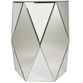 18-inch x 18-inch x 24-inch Geometric Mirrored Accent Table
