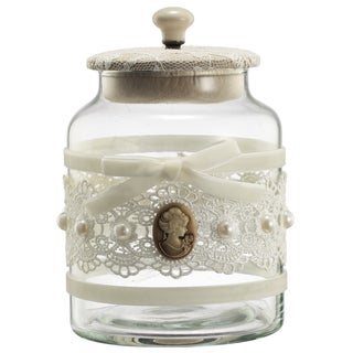 Glass 4.5-inch x 7-inch Vintage Lace Jar