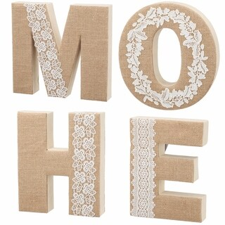 Set of Four 10-inch x 8-inch x 2-inch Home Lettering Wall Decor