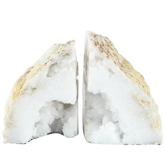 3.5-inch x 3.4-inch x 4.7 inch Natural Geode Bookends (Set of 2)
