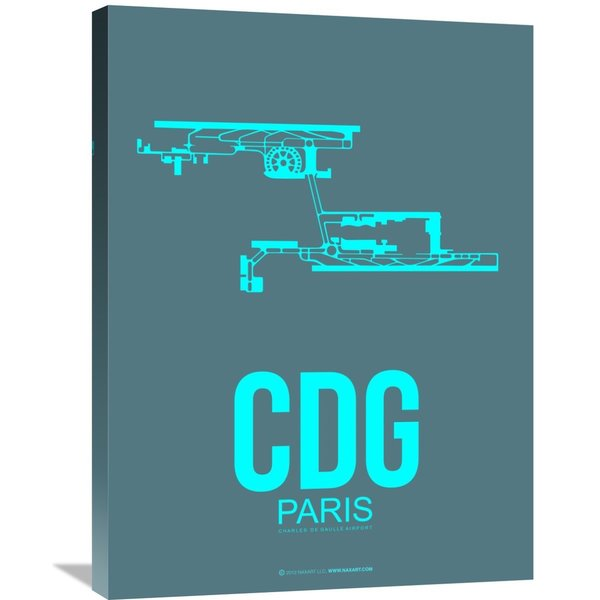 Naxart Studio 'CDG Paris Poster 1' Stretched Canvas Wall Art