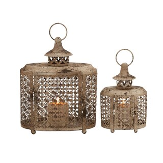 The Rustic (Set Of 2) Metal Candle Lantern