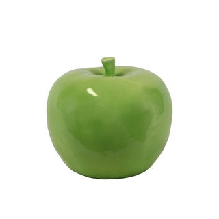 Lustrous & Glossy Ceramic Apple Decor In Green (Large)