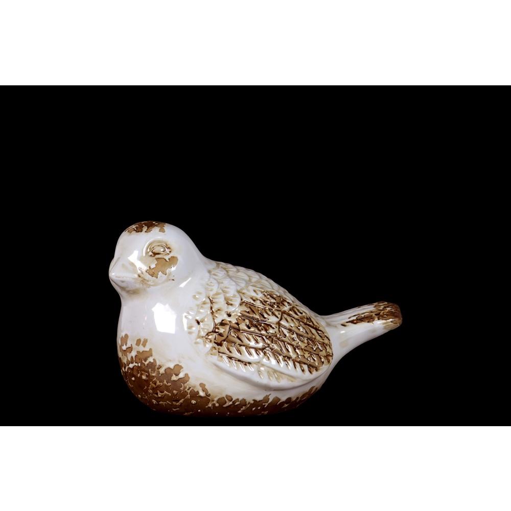 Adorable Antique Ceramic Bird Decorative In White & Brown (Ceramic)