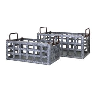 Trisha Yearwood Honey Bee Galvanized Crates - Set of 2
