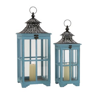 The Cool (Set Of 2) Wood Metal Glass Lantern