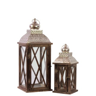 Rustic & Charming Wooden Lantern (Set Of 2) With Metallic Roof In Brown