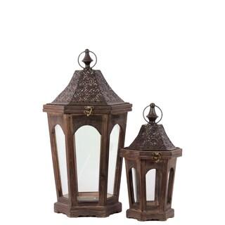 Classic Lamp Post Design Wooden Lantern (Set Of 2) In Rustic Antique Finish