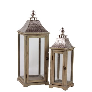 Wooden Lantern With Ethnic Design Metal Roof (Set Of 2)