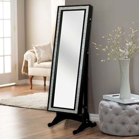 chic home glitzy full length wood and glass solid color jewelry armoire cheval mirror free. Black Bedroom Furniture Sets. Home Design Ideas