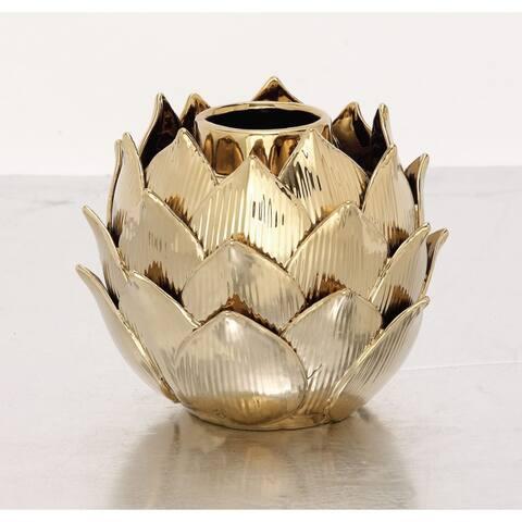 Silver Orchid Guitty Elegant Ceramic Gold Vase