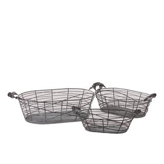 Oblong Shape Meshed Metal Basket Set Of Three Attached With Two Side Handle Each