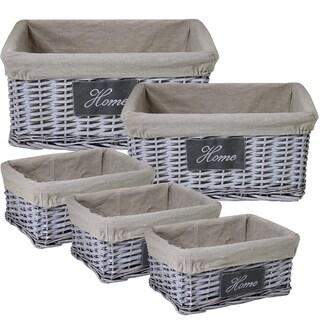 Stylish & Sturdy 5-Piece Willow Utility Basket By Entrada