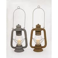 Havenside Home Buckroe 2-piece Metal Glass Lantern Set