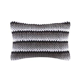 Madison Park Stripe Handloom Black Oblong Throw Pillow